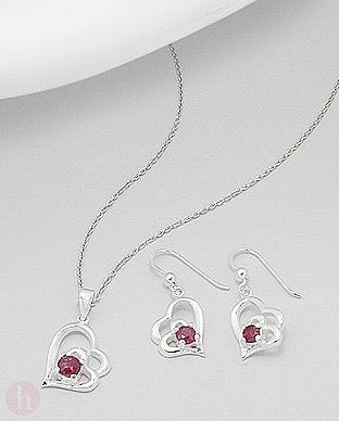 Set cercei si pandantiv inima cu cristale rosii