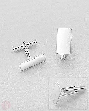 Set doi butoni din argint model dreptunghi