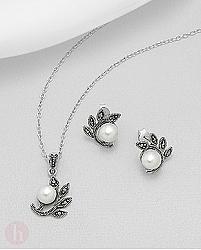 Set frunze marcasite si perle