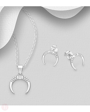 Set pandantiv si cercei din argint cu luna si cristale