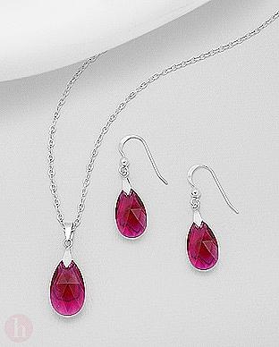 Set lacrima cu cristale Swarovski rosii